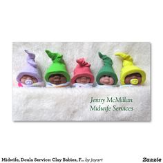 Midwife, Doula Service: Clay Babies, Fuzzy Blanket Double-Sided Standard Business Cards (Pack Of 100)