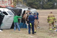 Horse trailer accident with 2 horses - brought out safely.