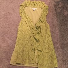 Lime green lace banana republic button down SZ 2 Adorable banana republic lime green lace front  bottom down too . Cute ruffles where it bottoms down with adorable neckline , size small Banana Republic Tops Button Down Shirts