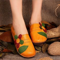 Handmade Leather Flat Slip ons for Women with by Dwarves on Etsy