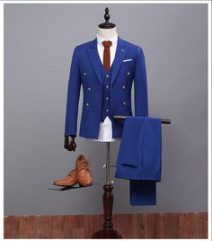 Cheap Royal Blue Mens Wedding Suits Custom Made High Quality Tuxedos Men 3 Piece Wedding Suits Groomsman Suits Grooms Suits