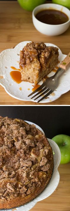 Caramel Apple Cinnamon Coffee Cake. With apples, a super soft crumb, cinnamon streusel topping & a drizzle of salted caramel - this cake is perfect for fall!