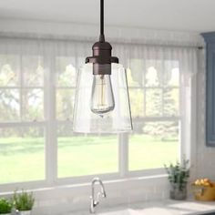 Lorenco 1 - Light Single Bell Pendant Finish: Aged Graphite with Brass Traditional Pendant Lighting, Farmhouse Pendant Lighting, Rustic Lighting, Kitchen Lighting, Wagon Wheel Chandelier, Lighting Sale, Lantern Pendant, Pendant Lights, Bronze Pendant Light