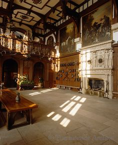 Longleat ~ The Great Hall features a Mannerist chimneypiece and a 16th century beamed ceiling. Equestrian paintings by John Wootton line the walls