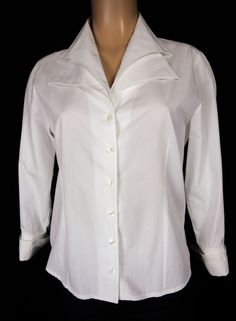ANNE FONTAINE Keliste 3/4 Top Size 42 M Off White Cotton Shirt Blouse Work #AnneFontaine #Blouse #Casual