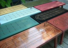 Game Room Cribbage Board Table - Handcrafted - Natural Wood - Great Father's Day Gift. $260.00, via Etsy.