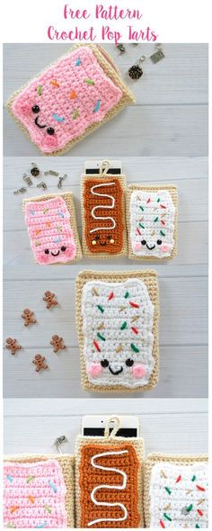 Crochet Free crochet amigurumi, pouch and mobile pouch Pop Tarts patterns. Love, crochet amigurumi, pouch and mobile pouch Pop Tarts patterns. Free crochet amigurumi, pouch and mobile pouch Pop Tarts patterns. Crochet Food, Crochet Gifts, Cute Crochet, Kawaii Crochet, Crochet Pouch, Crochet Purses, Crochet Bags, Crochet Handbags, Crochet Dolls