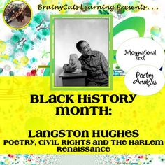 Ideas Black History Poems Poetry Harlem Renaissance For 2019 History Classroom, History Teachers, Black History Poems, High School American History, Black History Month Activities, History Jokes, National Poetry Month, Nasa History, Harlem Renaissance