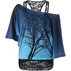 Lace Panel Skew Collar Tree Print T Shirt (80 PLN) ❤ liked on Polyvore featuring tops, t-shirts, shirts, blue tee, collared shirt, t shirt, print t shirts and blue top