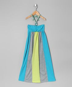 Take a look at this Celadon & Teal Halter Dress - Toddler & Girls by Cherry Stix on #zulily today!