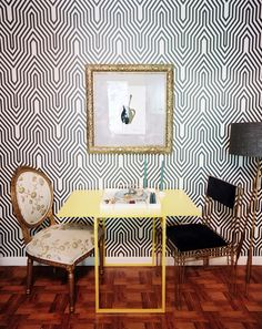 Patterned wall.  Kelley Carter, Lonny Magazine