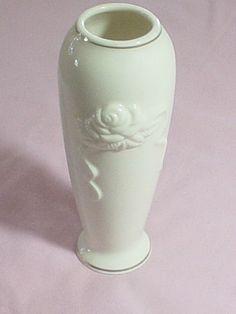 Lenox china white glazed vase with embossed rose