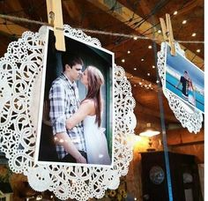vintage leaser cut paper and photos wedding decor