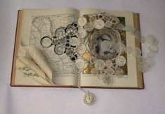 Altered book jewellery Must go to website. The creations of Betty Pepper (Book Keeping) from old books are beautiful! Book Crafts, Paper Crafts, Art Altéré, Altered Book Art, Book Jewelry, Book Sculpture, Sculpture Ideas, Handmade Books, Old Books