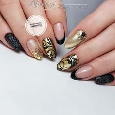 Ideas For Nails Design Ideas Ongles Nail Art Design Gallery, Best Nail Art Designs, Colorful Nail Designs, Fall Nail Designs, Xmas Nails, Christmas Nails, Monogram Nails, Golden Nails, Round Nails