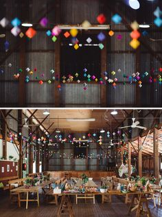 Best DIY wedding details of 2015 / geometric paper gems create a colourful canopy for this barn wedding