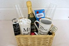 Personalised Mr & Mrs Wedding/Anniversary Champagne Flutes Gift Basket For Bride & Groom: Amazon.co.uk: Grocery