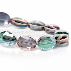 AB Finish Wholesale Faceted Oval Crystal Glass Beads G8812 - 5/10/20