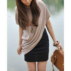 $12.59 Short Sleeve Color Block Faux Twinset Women's Dress