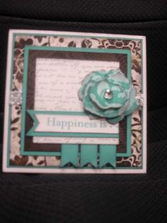 CTMH March SOTM-Floral Happiness, For Always papers paired with Lagoon CS.  Second generation stamping and layering of the rose.  Universal Backgrounds stamp set, Silver Shimmer Trim and Clear Sparkles.  Love me some BLING!