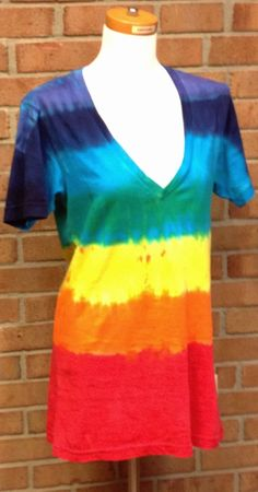 Rainbow Tie-dye T-shirt, Tunic, Deep V-Neck, Sizes XS-XL