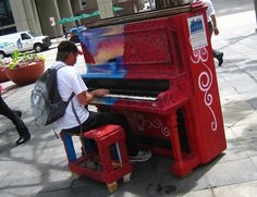 I love this about 16th street. They have pianos up and down the street so just anybody can sit down and play.
