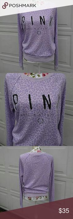 VS PINK animal print sweatshirt! Super cute! Cute sweatshirt with purple animal print & PINK nineteen eighty six on the front! Tag size is xs but fits great as a small! No stains! PINK Victoria's Secret Tops Sweatshirts & Hoodies