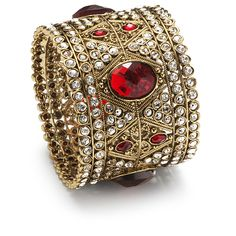 Manbhawati Cuff Bangle --    There is no mistaking the bride in this brilliant cuff. Brilliant diamante sparkles alongside romantic ruby red.