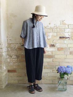 リネンビッグシャツ / STRIPE | コーディネート|nest Robe ONLINE SHOP