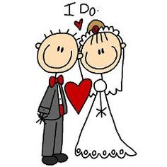 """A stick figure bride and groom say """"I Do"""" on wedding postage stamps that are perfect for your wedding invitations, bridal shower invites, or thank you notes! Wedding Cards, Wedding Gifts, Wedding Favors, Wedding Drawing, Stick Figure Drawing, Applis Photo, Photo Magnets, Stick Figures, Custom Posters"""