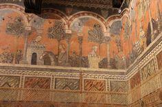с.1350.Palazzo Davanzati. Florence. Camera Castellana di Vergy.14th-century frescos in Italy.(Museo della Casa fiorentina Antica)Camera della castellana di vergy, ciclo pittorico, 1350 circa