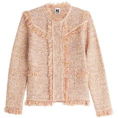 M Missoni Textured Jacket ($395) ❤ liked on Polyvore featuring outerwear, jackets, multicolored, pink fringe jacket, multi color jacket, colorful jackets, pocket jacket and fringe jackets