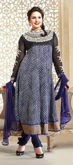 97189 Black and Grey, White and Off White color family Anarkali Suits in Georgette fabric with Machine Embroidery, Sequence, Stone work. Party Wear For Women, Ladies Party, Ethnic Suit, Latest Salwar Kameez, Salwar Suits Online, Georgette Fabric, Off White Color, Anarkali Suits, Beautiful Indian Actress