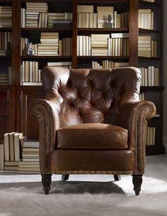 Bradington Young Leather Chair. Nailhead Trim.