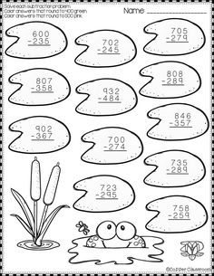 These 10 pages focus on 3 digit subtraction. Printables either ask for odd/even, multiples of rounding to the nearest or place . Math Worksheets, Teaching Resources, Math Centers, Math Stations, Second Grade Math, Teacher Tools, Elementary Math, Classroom Activities, Math Lessons