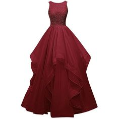 Dresstells Long Prom Dress Asymmetric Bridesmaid Dress Beaded Organza... (£84) ❤ liked on Polyvore featuring dresses, gowns, red prom gowns, red ball gown, long red dress, prom gowns and long evening gowns