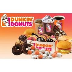 Dunkin' Donuts is the world's leading donuts, baked goods and coffee chain.selling more than 1 billion cups of coffee per year! Great Desserts, Dunkin Donuts, Gift Certificates, Treat Yourself, Baked Goods, Dog Food Recipes, Treats, Baking, Breakfast