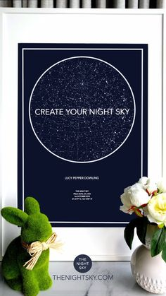 """Was it your first kiss, the birth of a child or that moment you realized your world had changed forever. Give a gift of the stars to always remember that special night.   Create an 18"""" x 24"""" star map of the night your heart skipped a beat. Printed on the finest Matte Art paper using archival ink. This wall art is of the highest quality."""