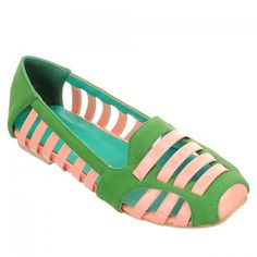 Stylish Square Toe and Hollow Out Design Color Block Women's Flat Shoes