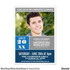 Blue/Gray Photo Grad Party 5x7 Paper Invitation Card