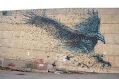 """DALeast Creates a Massive """"Defoliation"""" Mural in New Zealand to Honor the Haast's Eagle: Chinese-born artist DALeast has installed a new mural in Dunedin, New Zealand. Graffiti Art, Graffiti Tagging, Eagle Artwork, Garage Exterior, Urbane Kunst, Amazing Street Art, Outdoor Photography, Art Festival, Street Artists"""