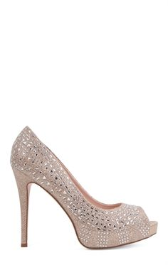 Beautiful! !! MESH GLITTER PUMP WITH STONES