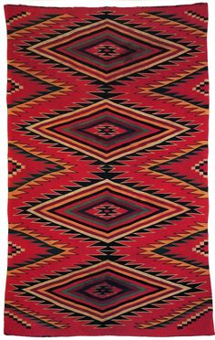 Great colors on this Navajo weaving. Native American Rugs, American Quilt, American Indian Art, Native American History, American Indians, Navajo Weaving, Navajo Rugs, Skull Painting, Fabric Painting