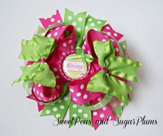 Polka Dot and Chevron Personalized Bottle Cap Bow