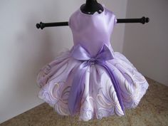 Dog Dress  XS Lavender With Embroidery Lace  by NinasCoutureCloset