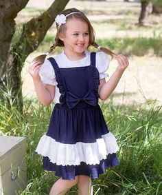 Another great find on #zulily! Blue Denim & Lace Dress - Toddler & Girls by Sweet Charlotte #zulilyfinds
