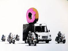 Banksy Donuts (Strawberry), Graffiti Street Art, Photo Printed on Metal Banksy Graffiti, Banksy Prints, Bansky, Spray Paint Stencils, Spray Paint On Canvas, Stencil Painting, Stenciling, Spray Painting, Decoration