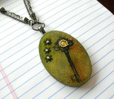 Key Distressed Wooden Pendant Necklace by HandcraftedSerenity, $27.99