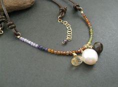 Gemstone Leather Necklace Ombre Gemstone by DesignByPeiPei on Etsy