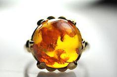 Estate 14k Yellow Gold 12mm Cabochon Amber Ring Sz 6.5